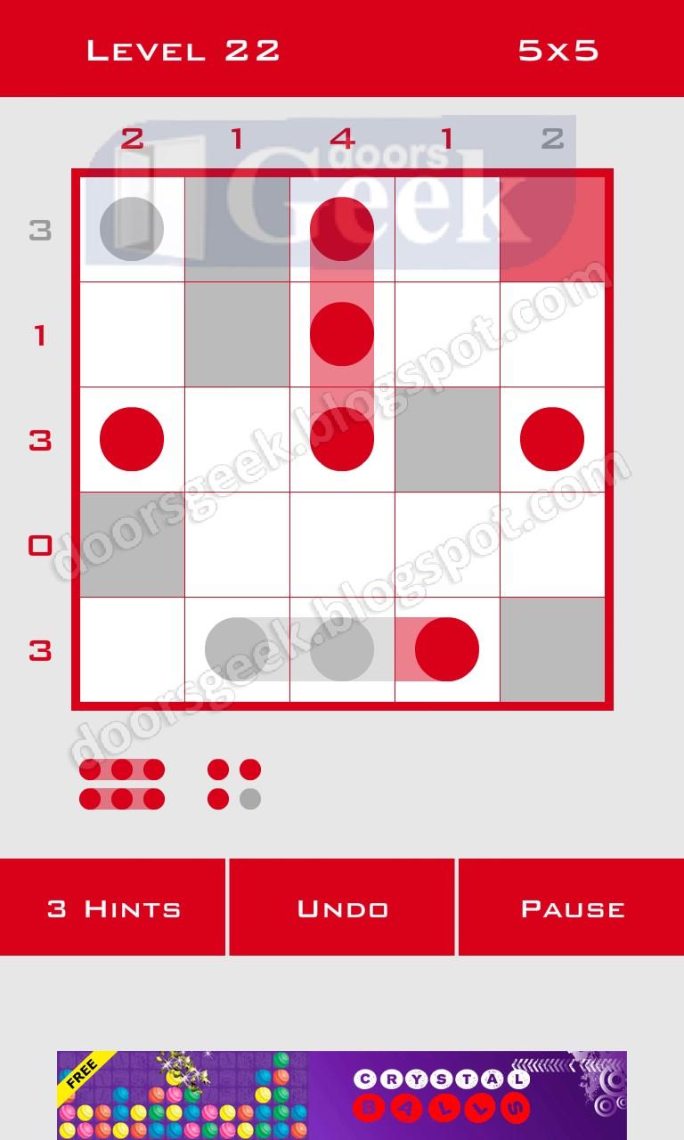 Logic dots 5x5 level 22 solution doors geek for Solution wordbrain cuisine