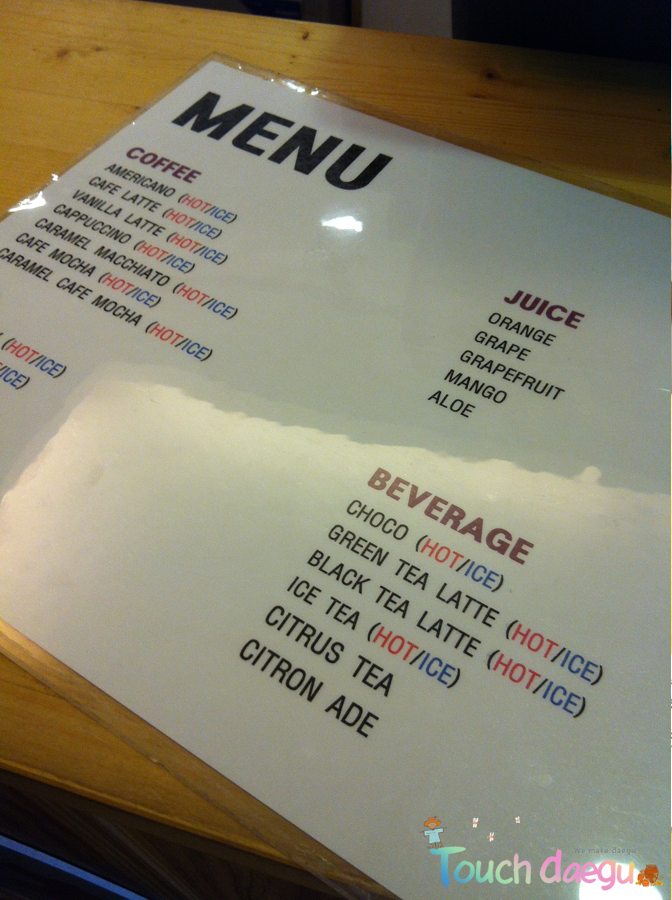 The menu in Go Yang-E cafe