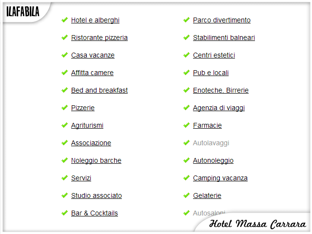 Hotel Massa Carrara - Categorie