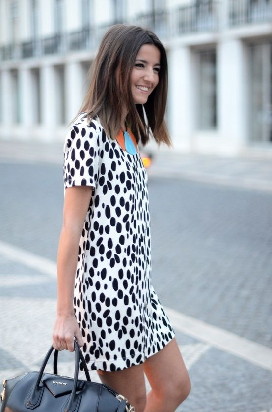 Cute dress, dalmatian prints. Latest fashion trends 2015