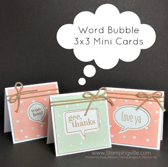 Mini 3x3 cards with Stampin' Up! Just Sayin stamp set and matching Word Bubble Framelit Dies #papercrafting #cardmaking #Stampinup