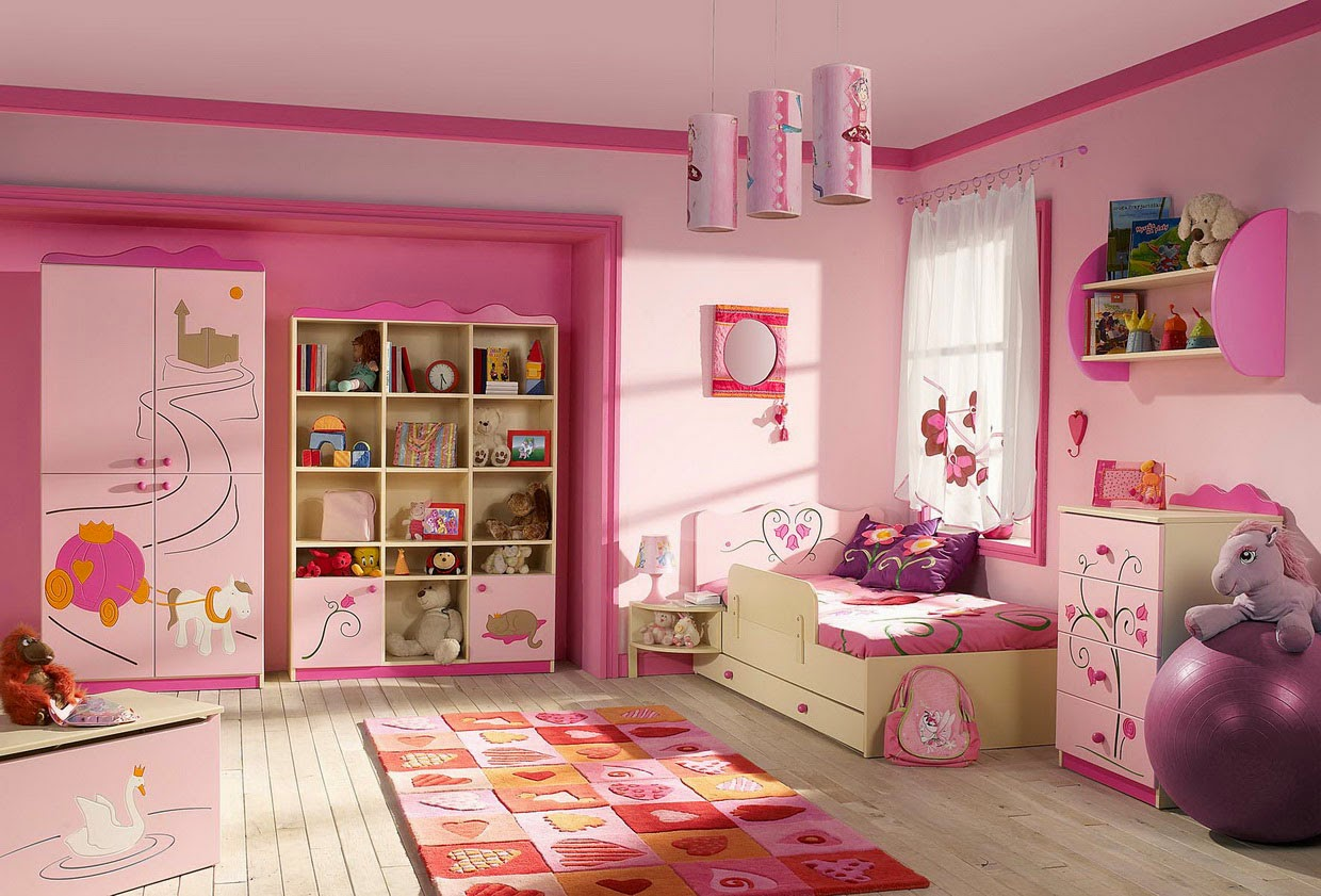 Girl Pink Bedroom Interior