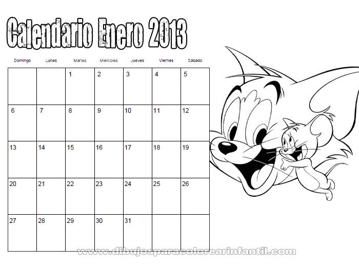 Calendario Enero 2013 de Tom y Jerry para colorear