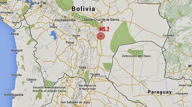 SISMO DE MAGNITUD 5,2 SACUDE BOLIVIA, 19 de Abril 2014