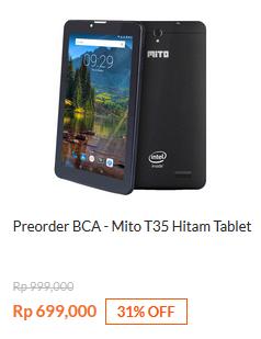 Preorder BCA - Mito T35 Tablet Hitam Rp 699.000