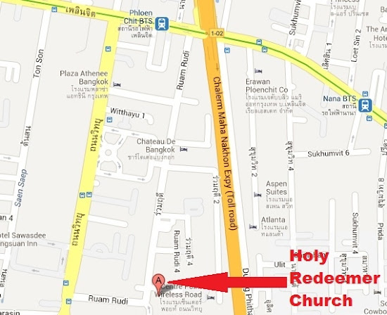 Map to Holy Redeemer Church