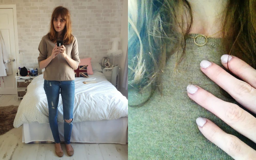 Uniqlo Cotton Cashmere Sweater, H&M Distressed Skinny Jeans, Mango Nude Ballet Pumps, Gold Karma Necklace