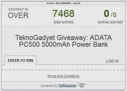 TeknoGadyet ADATA PC500 5000mAh Power Bank Giveaway Winner