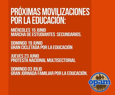 PROXIMAS MOVILIZACIONES POR LA EDUCACION