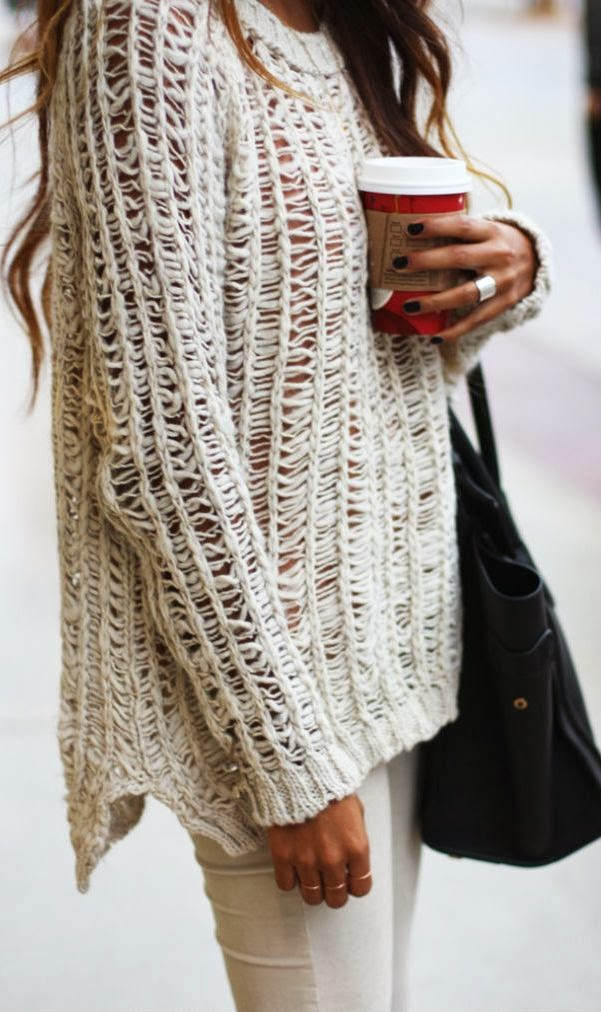 Adorable open knits chunky rings oversized sweater trend