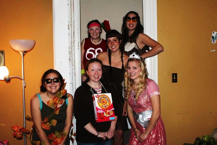 these are a few more friends with home made costumes up top is olive from little miss sunshine and the front center is a cereal killer - Little Miss Sunshine Halloween Costume