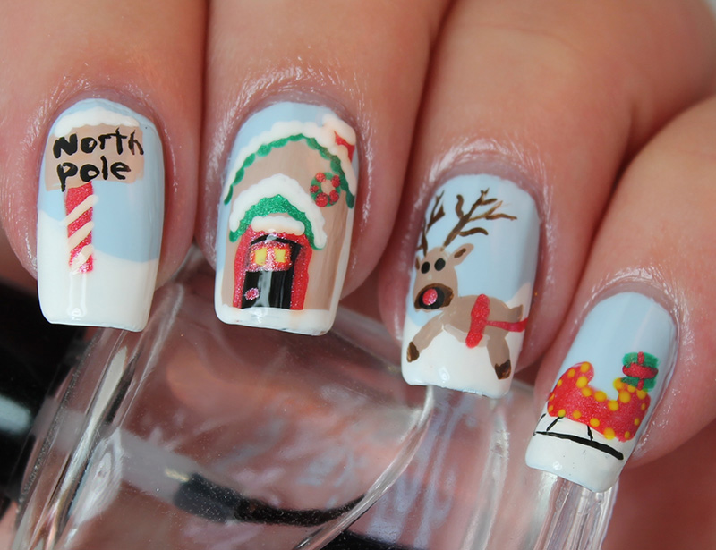 North Pole Christmas nail art