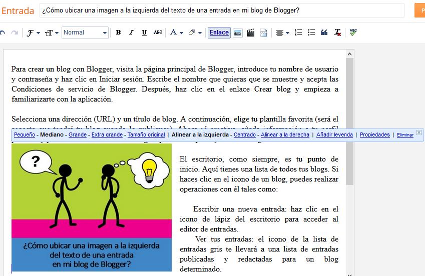 ¿Cómo ubicar una imagen a la izquierda del texto de una entrada en mi blog de Blogger?