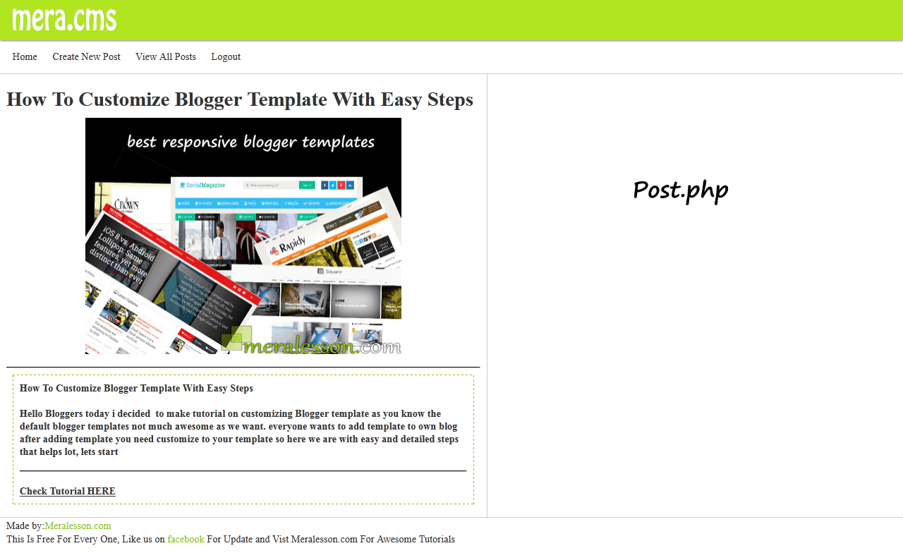 Simple Blogger Type Cms Using Php Pdo Meralesson Blogger