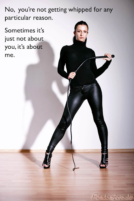Captioned image of gloriously disdainful domme