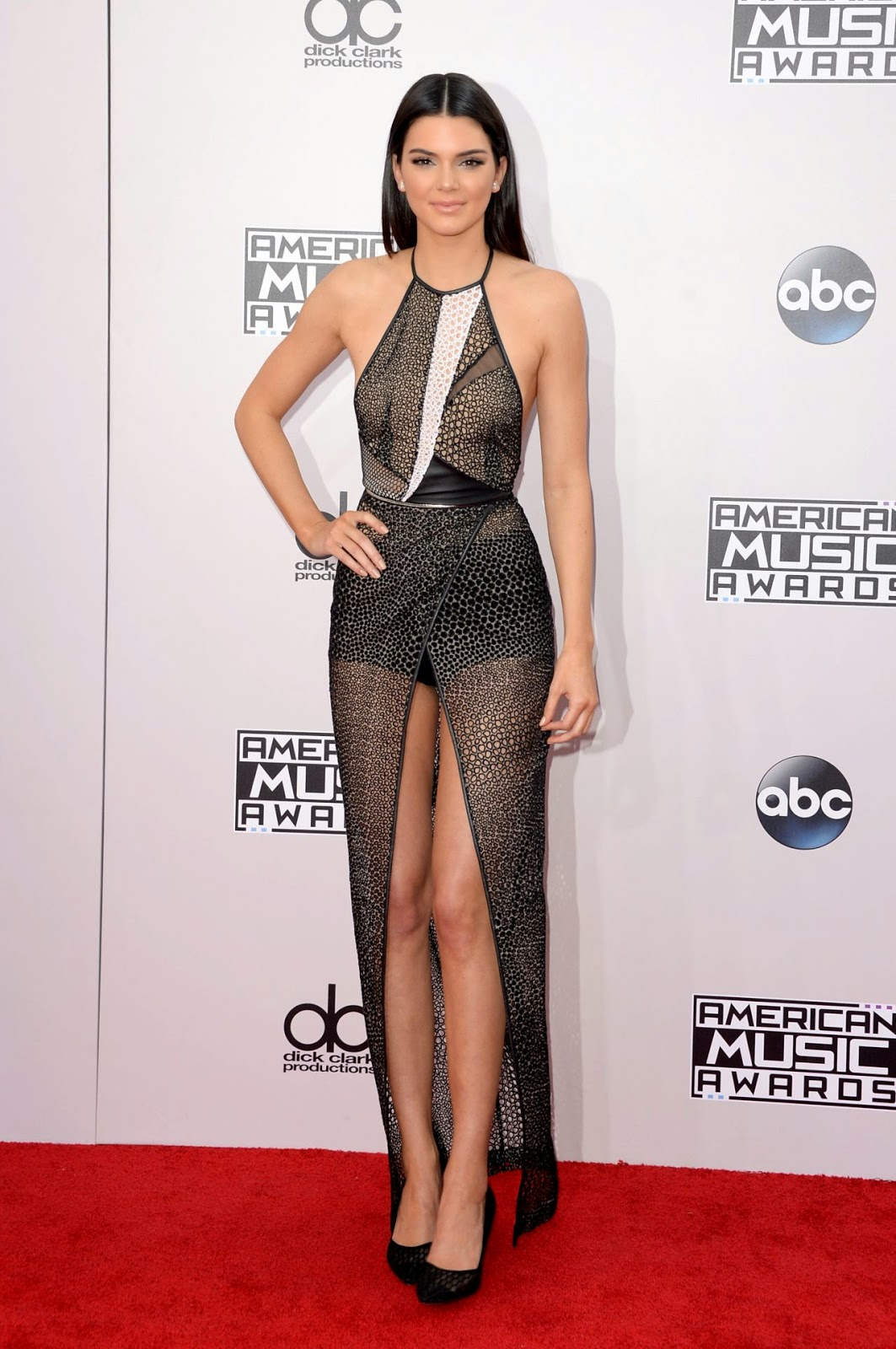 Kendall Jenner is chic in a sheer halter gown at the 2014 American Music Awards