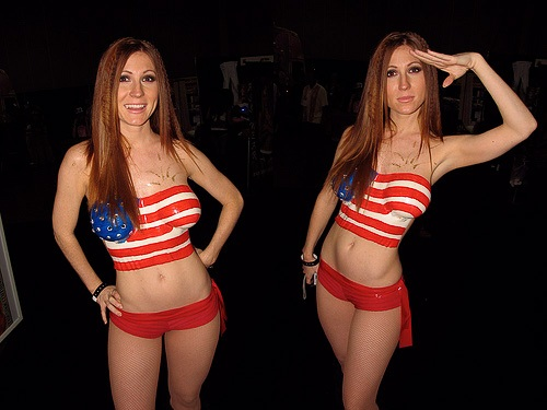Halloween bodypaint women Costumes USA Flag