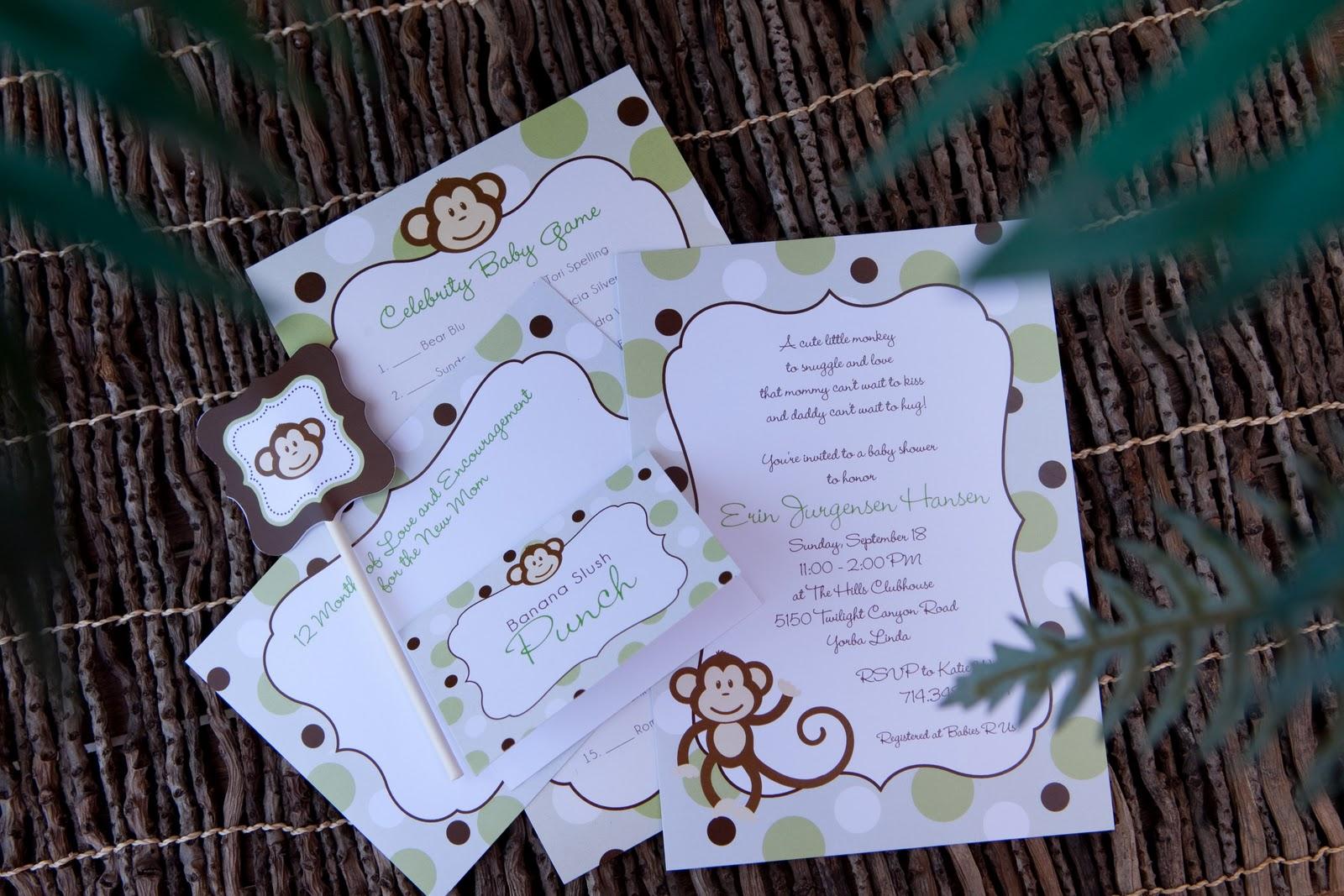 Custom programs llc dba cherish paperie blog monkey baby shower yorba linda party stationery - Baby shower monkey pictures ...