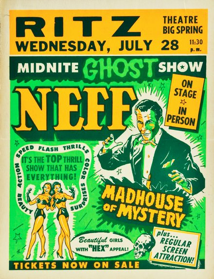 classic posters, free download, graphic design, movies, retro prints, theater, vintage, vintage posters, Midnite Ghost Show, Neff, Madhouse of Mystery - Vintage Theater Poster