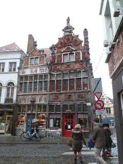 Beautiful buildings in Ghent's Korenlei district