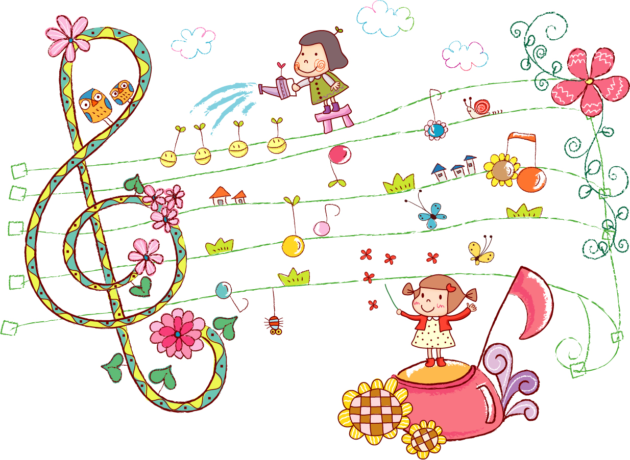 お伽噺の少女と楽譜 little girl read music イラスト素材