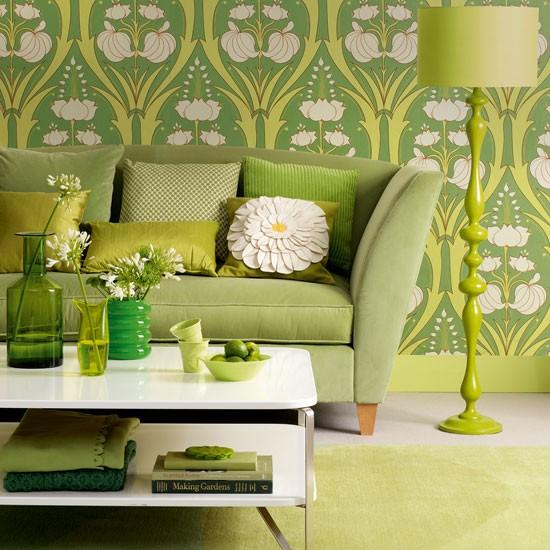 Green Floral Living Room