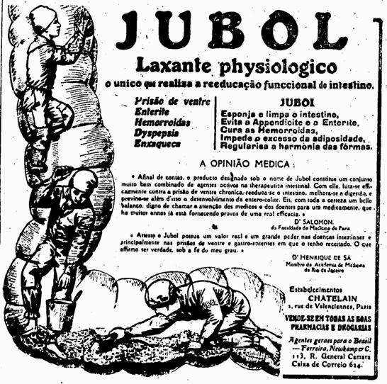 """Propaganda do medicamento Jubol que prometia deixar as """"tripas brilhando""""  em 1939."""