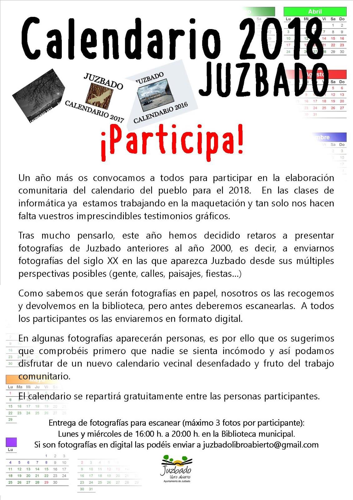 PARTICIPA EN EL CALENDARIO 2018