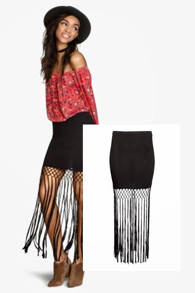 Saia franjas  H&M - tendencia primavera verão 2015