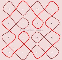 Kolam 43: Apartment Nelli Kolam  Dots 4 x 4