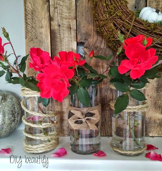 Adding texture to vases www.diybeautify.com