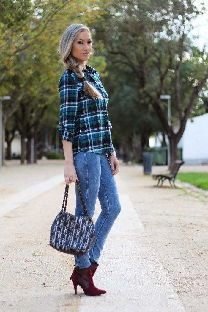 outfit tartan padrão escocês azul verde skinny jeans mala carolina herrera promod calvin klein blondie blog de moda, style statement, estilo pessoal, consultoria de imagem