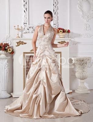 Robe de bal Halter Champagne à encolure en V perlée Applique satiné Robe de mariée