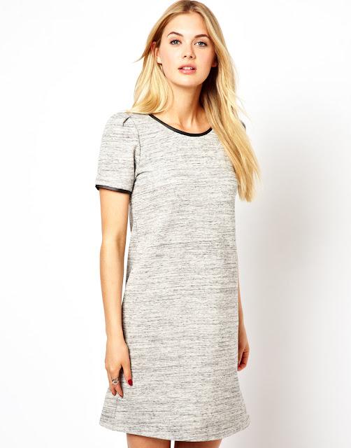 faux leather trim dress