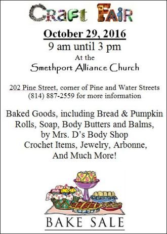 10-29 Craft Fair, Smethport Alliance