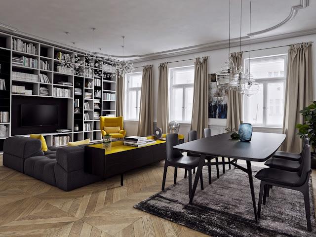 ruang keluarga dengan aksen warna kuning