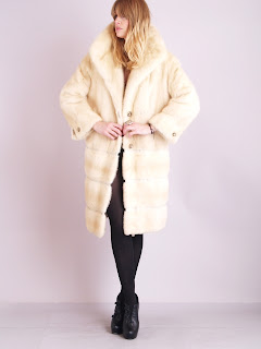 Vintage 1960's platinum colored mink fur princess coat with large collar.