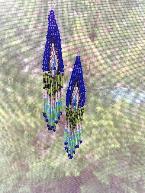 beaded earrings, african tribal earrings, ethnic long earrings, Blue beaded long earrings, beautiful earrings