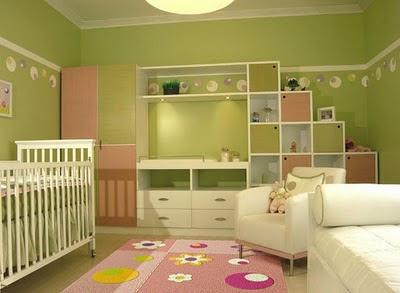 Dormitorio verde colores bebe