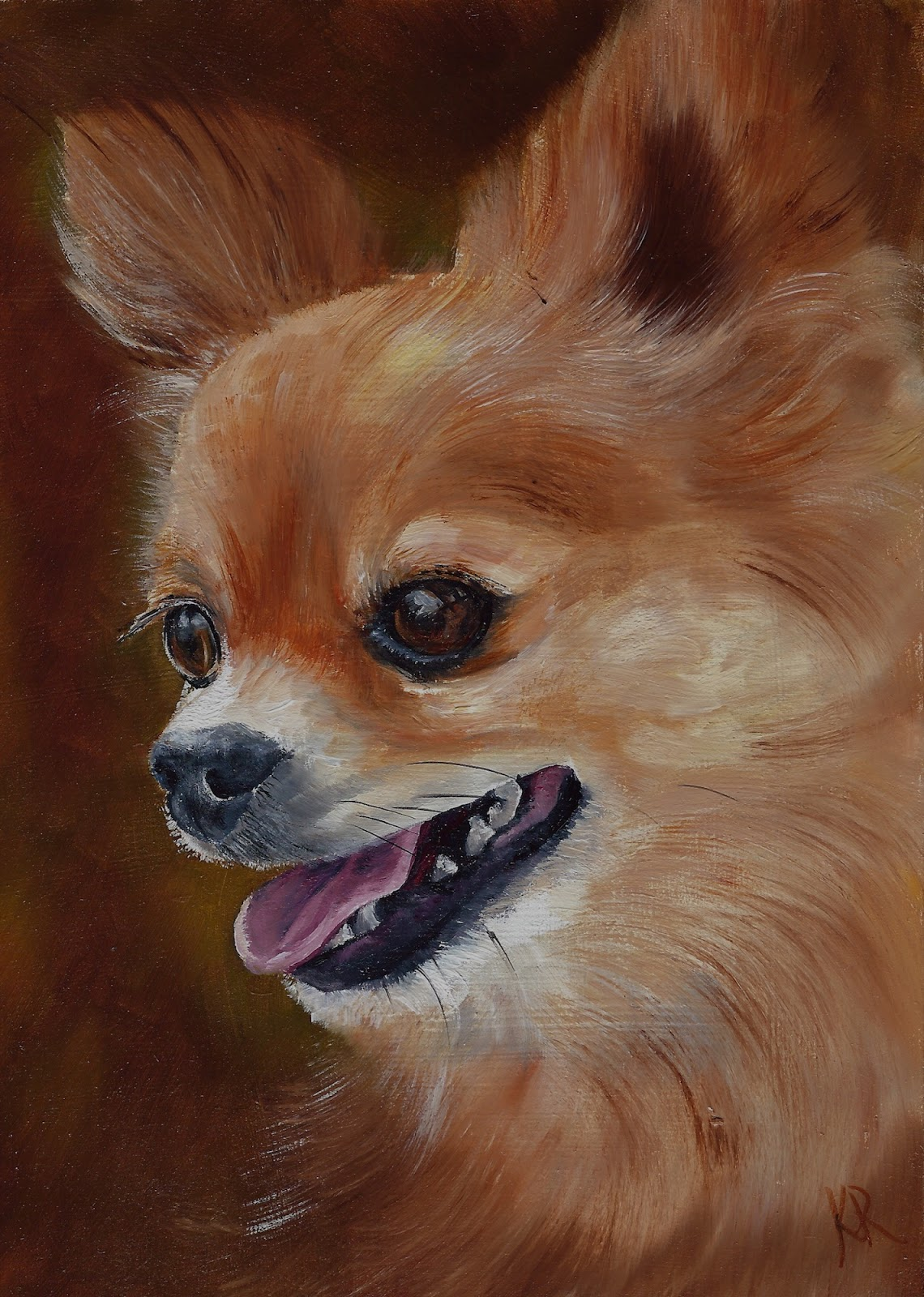 Chihuahua oil painting. A pet portrait.