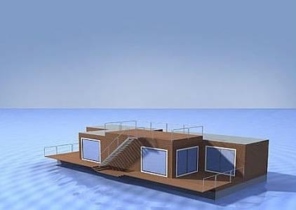Imagen del renderizado de un proyecto de casa flotante