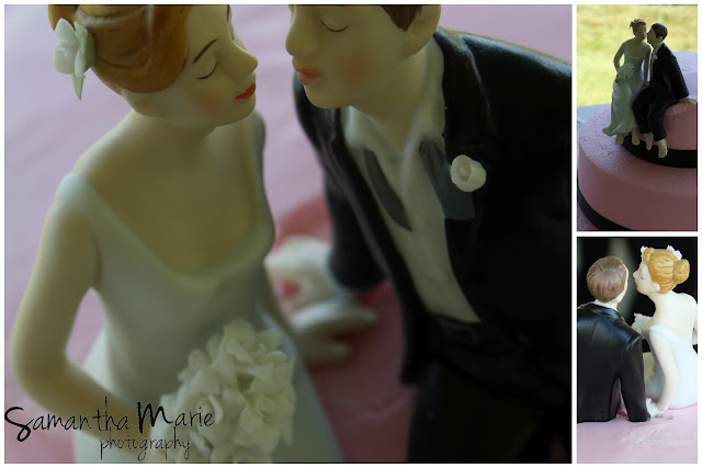 pink wedding cake and topper