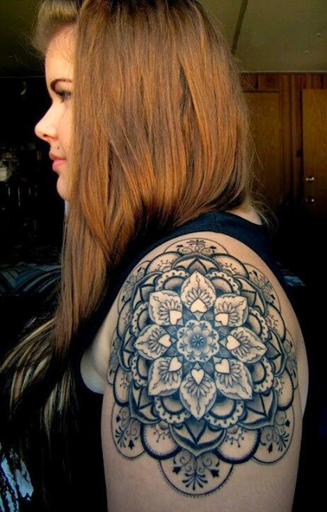 Awesome Mandala Shoulder Tattoo