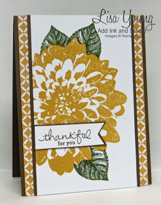 Stampin' Up! Definitely Dahlia stamp set with Vintage Leaves stamp set. Handmade card by Lisa Young, Add Ink and Stamp