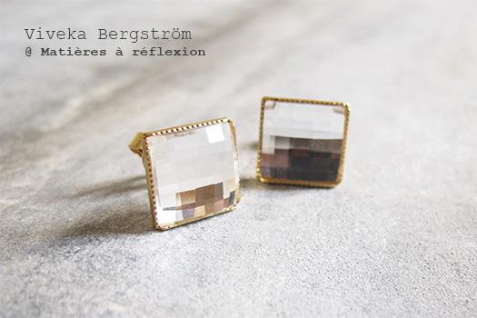 Boucles retro Viveka Bergstrom bijoux cristaux blancs et doré