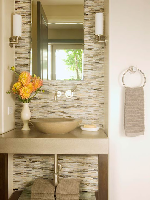 Creative Neutral Stone Tiled Bathroom  Bathroom Decorating  Ideal Home