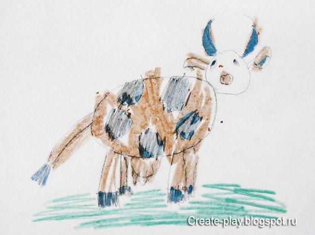 детский рисунок корова