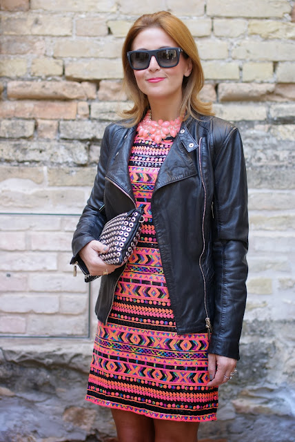 romwe sequin dress, leather motorcycle jacket, Dolce & Gabbana sunglasses, Fashion and Cookies, fashion blogger