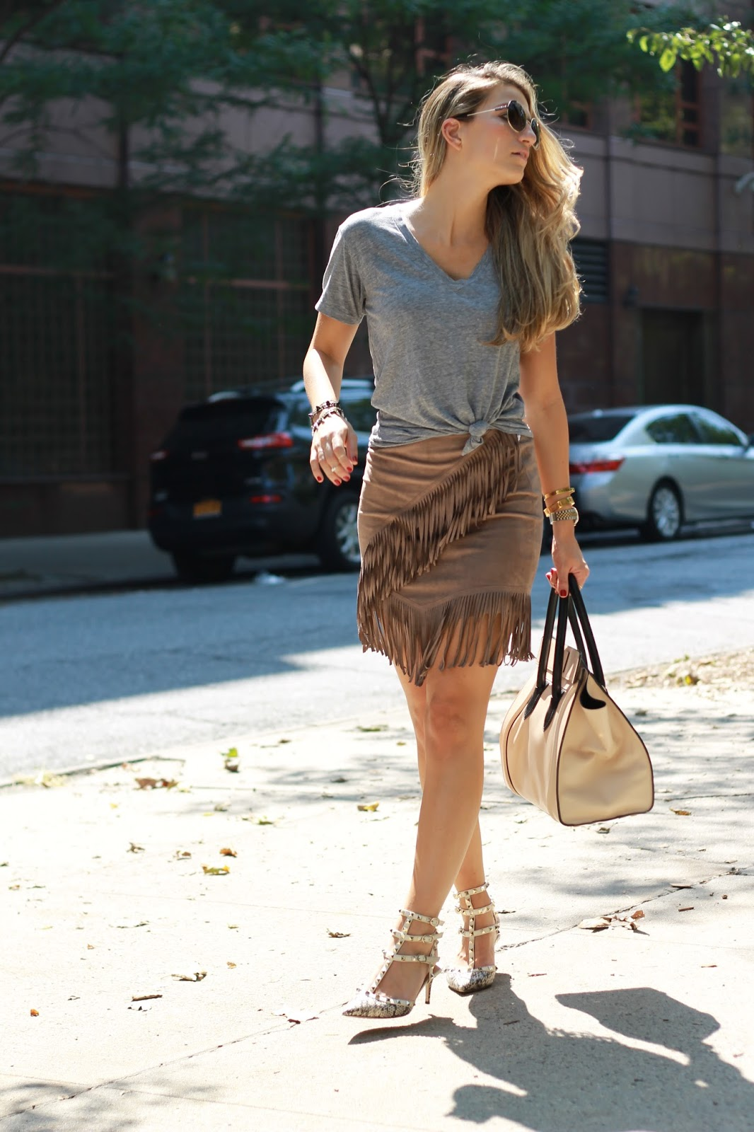 dressed for dreams, suede fringe skirt