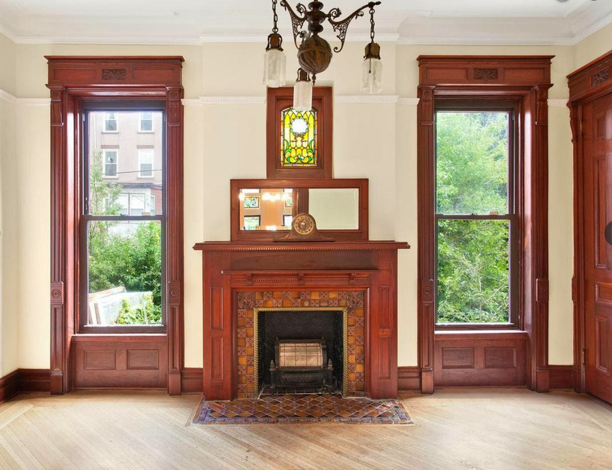 Brooklyn New York Brownstone Row House Victorian Interior Woodwork Stained  Glass Window